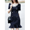 Naval Stylish Contrast V-Neck Ruffle Cuffs Double Breasted Mini Flare Dress