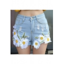 High Rise Tribal Style Floral Design Ripped Denim Shorts