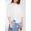 New Arrival High Low Hem Single Breasted 3/4 Length Sleeve Plain Shirt
