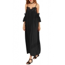 Cold Shoulder Spaghetti Straps Lace Trim Chiffon Maxi Beach Dress