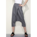 Striped Printed Elastic Waist Casual Loose Capri Harem Pants