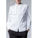 New Design Stylish Cutting Lapel Collar Long Sleeve Buttons Down Plain Shirt