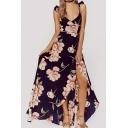 Elegant Sleeveless Spaghetti Straps Floral Printed Split Front Maxi Cami Dress