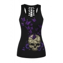New Fashion Butterfly Skull Printed Cut Out Back Scoop Neck Tank Top