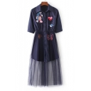 New Arrival Fake Two-Piece Sheer Mesh Patched Lapel Collar Buttons Down Shirt Dress