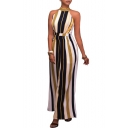 New Arrival Halter Neck Bow Back Color Block Striped Printed Wide Legs Jumpsuits