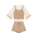 Round Neck Half Sleeve Plain Cropped Cami Top High Rise Shorts Three-Piece Set