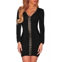 Fashion Single Breasted V-Neck Long Sleeve Plain Mini Bodycon Dress