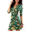 Women's Half Sleeve Plunge V-Neck Printed Color Block Mini A-Line Dress