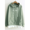 Hot Fashion Fake Two-Piece Letter Printed Long Sleeve Casual Leisure Hoodie