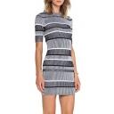Color Block Striped Printed Round Neck Short Sleeve Pencil Mini Knit Dress
