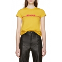 Summer DHL Letter Printed Short Sleeve Off-Duty Round Neck Tee
