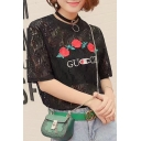 Fashion See Through Lace Embroidery Floral Pattern Short Sleeve Tee