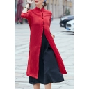 Retro Chinese Knot Stand Up Collar 3/4 Sleeve Single Breasted Plain Tunic Coat Cardigan
