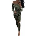 Fashion Off the Shoulder Long Sleeve Cutout Knees Plain Jumpsuits