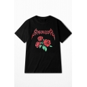Retro Floral Letter Embroidered Round Neck Short Sleeve Street Style T-Shirt