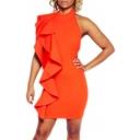 New Arrival Ruffle Patchwork Sleeveless Halter Open Back Plain Mini Dress