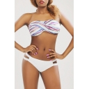 Women's Striped Printed Bandeau Top Cutout Sides Bikinis Swimwear