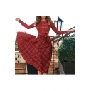 Women's Long Sleeve Plaid Belt Waist Midi A-Line Dress
