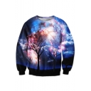 Galaxy Big Trees Pattern Round Neck Long Sleeve Casual Leisure Sweatshirt