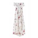 Boat Neck Short Sleeve Summer's Sash Floral Printed Asymmetrical High Low Dress