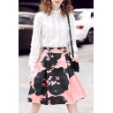 High Neck Long Sleeve New Fashion Top Water Ink Printed A-Line Skirt Set