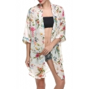 Fashion Floral Printed Open Front Tunic Chiffon Kimonos