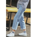New Arrival High Rise Fringe Side Folded Cuff Capri Straight Jeans