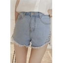 New Arrival Studded High Waist Fringe Hem Denim Shorts