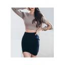 Basic Simple Plain Elastic Waist Mini Asymmetrical Hem Bodycon Skirt