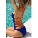 Crisscross Open Back Halter Neck Sexy Slim One Piece Swimwear