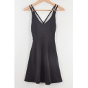 Sexy Crisscross Hollow Out Back Straps Sleeveless Plain Mini Dress