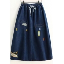 Elastic Drawstring Waist Cartoon Cat Embroidered Denim A-Line Midi Skirt