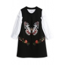 Lantern Sleeve Plain Shirt Butterfly Embroidered Tank Dress Two-Piece Dress