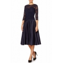 Elegant Chic Lace Patchwork Half Sleeve Ruched Waist Midi Pleated Dress