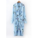 New Fashion Lapel Collar Long Sleeve Floral Printed Twisted Waist Midi Shirt Dress