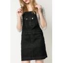 Darkwashed Black Mini Plain Overall Denim Dress with Pockets