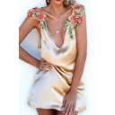 Floral Embroidered Shoulder Plunge Neck Open Back Mini A-Line Slip Dress