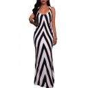 Fashion Hollow Out Sides Split Hem Scoop Neck Sleeveless Striped Color Block Maxi Dress