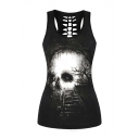 New Arrival Skull Track Pattern Scoop Neck Cut Out Back Sports Tank