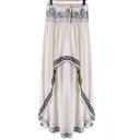 New Stylish Drawstring Waist Striped Trim High Low Hem Asymmetric Skirt