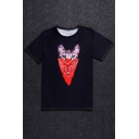 Hot Fashion Mask Cartoon Cat Printed Round Neck Short Sleeve T-Shirt