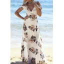 Floral Printed Spaghetti Straps Cold Shoulder Split Front Maxi Beach Dress