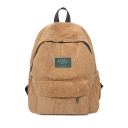Unisex Simple Plain Corduroy Backpack