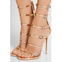 Summer New Stylish Cutout Bandage Multi-Buttons Stiletto High-Heeled Sandal