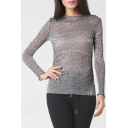 Round Neck Long Sleeve Sexy Sheer Silver Plain Pullover T-Shirt