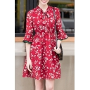 Ruffle Sleeve Bow Tie Collar Floral Printed A-Line Mini Tea Dress