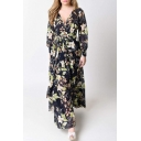 Floral Printed Plunge V-Neck Long Sleeve Belt Waist Maxi Wrap Dress