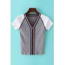 Zipper Placket V-Neck Contrast Raglan Short Sleeve Striped Color Block Knitted Top