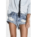 New Arrival Ripped Roll Up Hem Low Waist Plain Denim Shorts